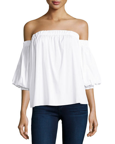 Off-the-Shoulder Stretch-Cotton Blouse