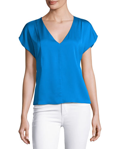 Short-Sleeve Seamed V-Neck Stretch-Silk Top