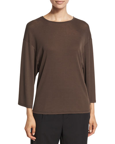 Wide-Sleeve Cotton Jersey Top
