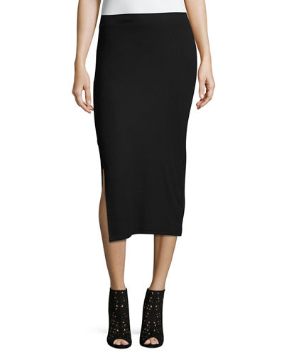 Side-Slit Knit Tube Skirt