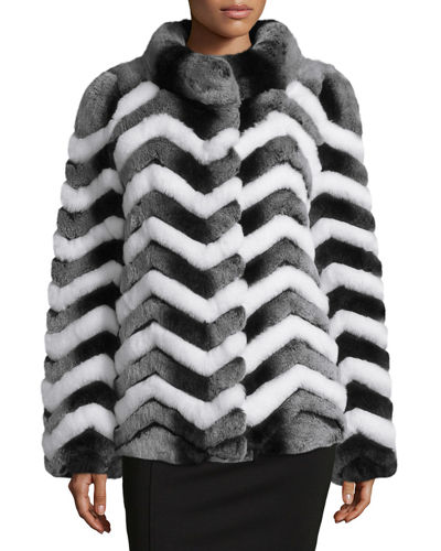 Chevron Fur Jacket