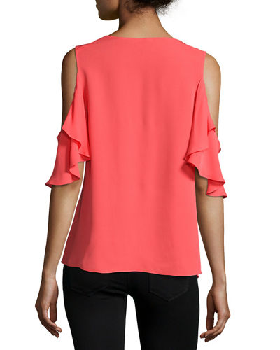 Rochelle Cold-Shoulder Ruffled Silk Blouse