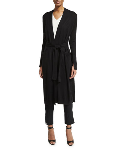 Halston Heritage Long Open-Front Duster Cardigan w/ Sash