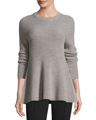 Fluid Wool Pullover Sweater, Gray