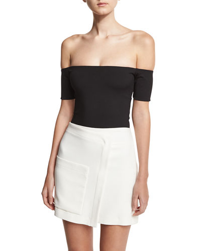 Halston Heritage Margaux Off-the-Shoulder Ribbed Jersey Bodysuit