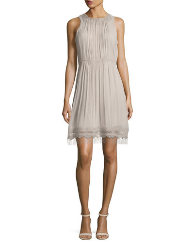 Demetria Sleeveless Chain-Trim Silk Dress