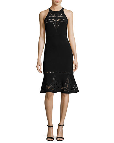 Lauren Sleeveless Lace-Trim Sweater Dress