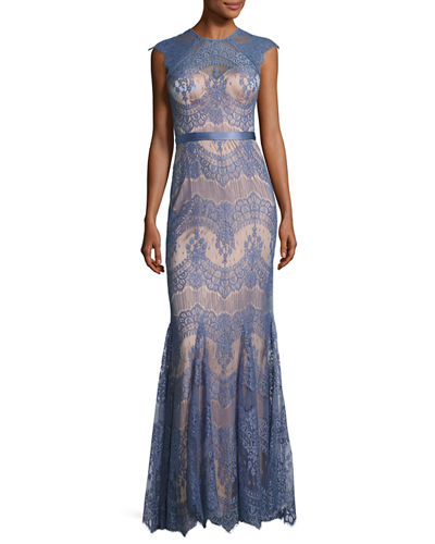 Catherine Deane Cap-Sleeve Lace Trumpet Gown