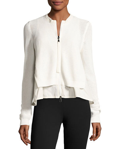 Layered Mesh Zip-Front Jacket