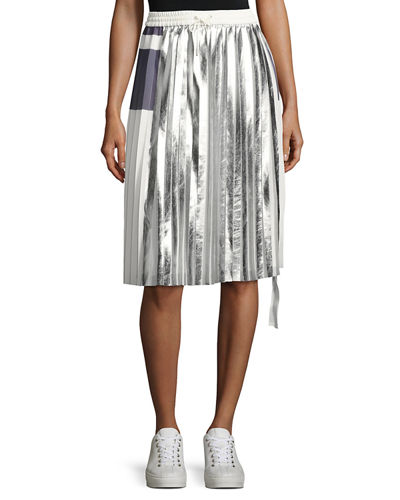 Blaise Pleated Metallic Drawstring Skirt, Off White