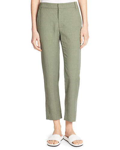 Coin-Pocket Cropped Straight-Leg Trousers
