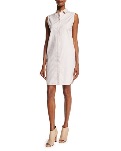 Sleeveless Overlay-Back Shirtdress