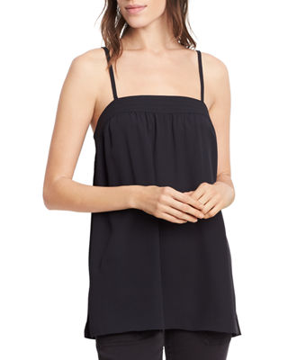 VINCE Embroidered Silk Camisole Top in Black