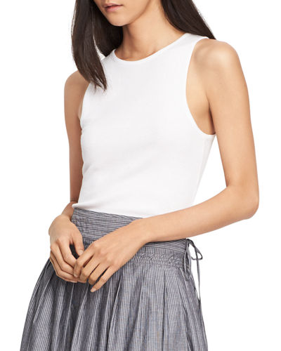 Vince High-Neck Shirttail Tank Top