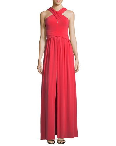 Halston Heritage Sleeveless Knotted Jersey Cross-Front Gown