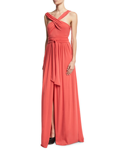 Sleeveless Knotted Jersey Cross-Front Gown