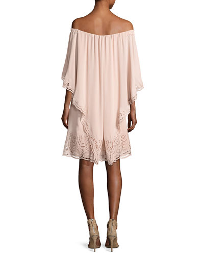 Veronica Off-the-Shoulder Silk Popover Dress