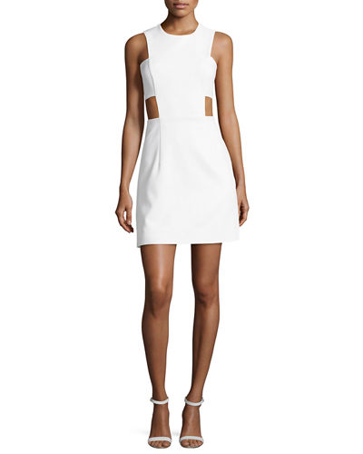 Sleeveless Stretch-Crepe Cutout Minidress