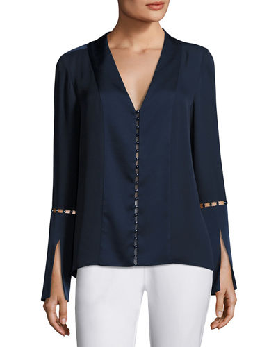 Deb Long-Sleeve Pearly-Trim Silk Chiffon Blouse