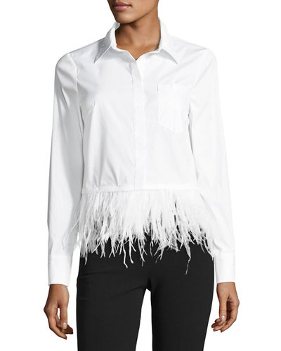 Cross-Dyed Shirting Blouse w/ Detachable Ostrich Feather Hem