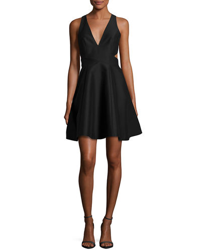Sleeveless Cutout Faille Cocktail Dress