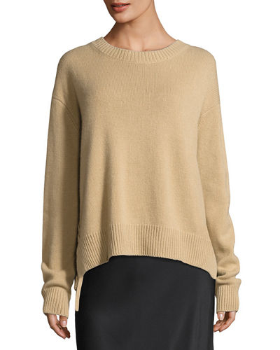 Cashmere Lace-Up Pullover Sweater