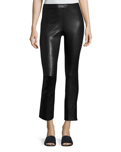 Leather Split Hem Cropped Pants