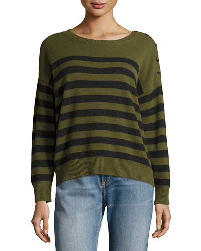 Cashmere Striped Shoulder-Button Pullover Sweater