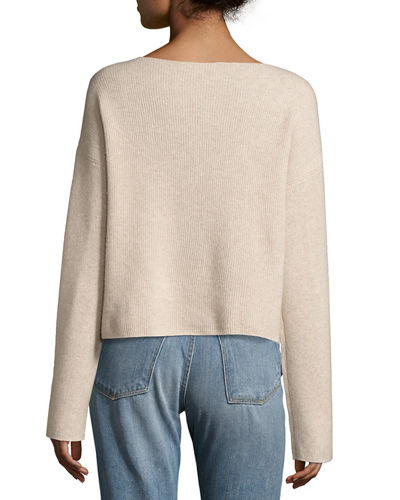 Cashmere Long-Sleeve Boxy Pullover