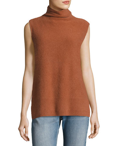 Side-Slit Sleeveless Cashmere Turtleneck Sweater