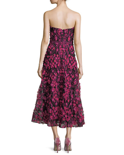 Strapless 3D Floral Cocktail Dress