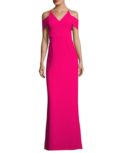 Cold-Shoulder V-Neck Evening Gown
