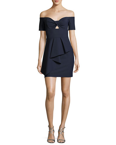 Vanessa Off-the-Shoulder Peplum Stretch Cocktail Dress