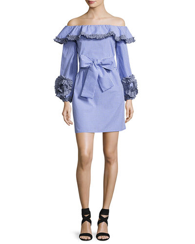 Miquela Gingham Ruffled Poplin Mini Dress