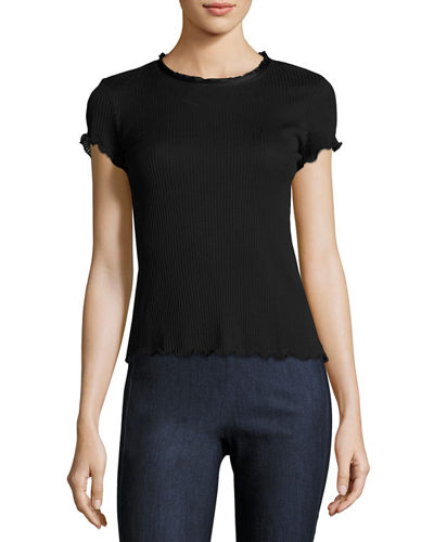 Rag & Bone Dillion Ribbed Scalloped Tee