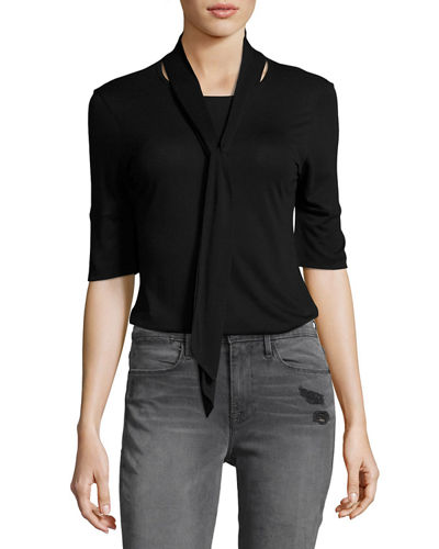 Tie-Neck 3/4-Sleeve Top