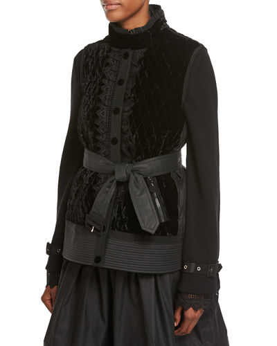 Marianne Mixed-Media Belted Jacket