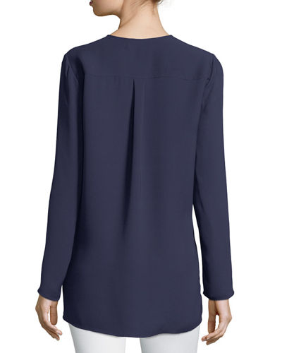 Zalina Long-Sleeve Split-Neck Silk Blouse