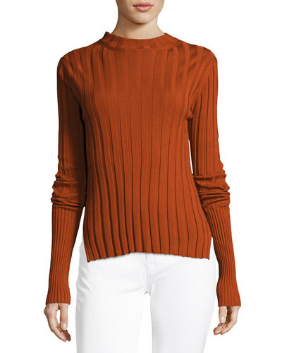 Wide-Rib Mock Neck Fitted Sweater