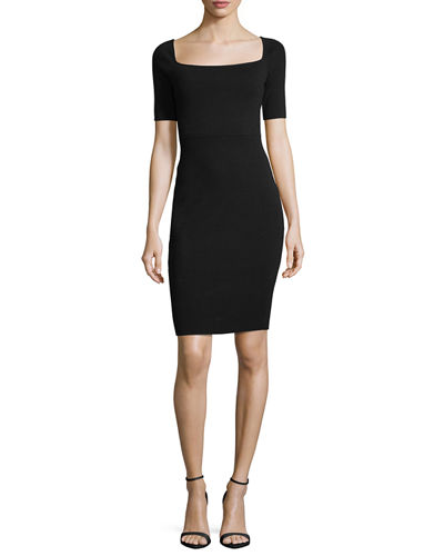 Short-Sleeve Square-Neck Sheath Dress