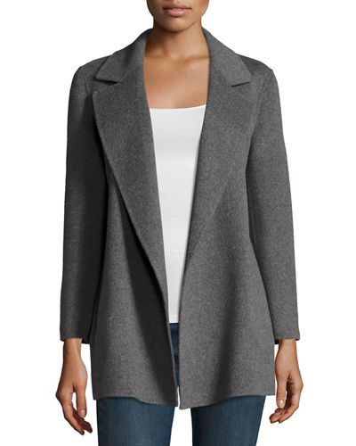 Clairene Open-Front Wool-Blend Coat