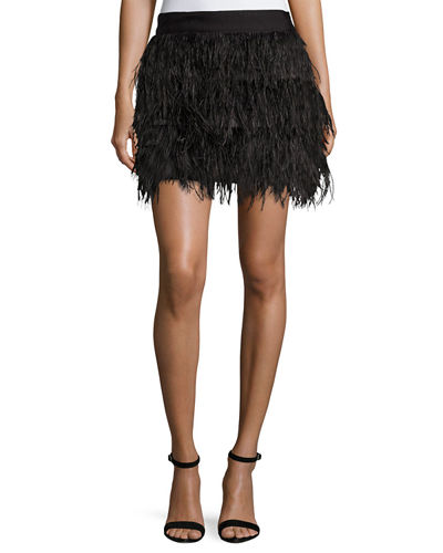 Milly Ostrich Feather Miniskirt