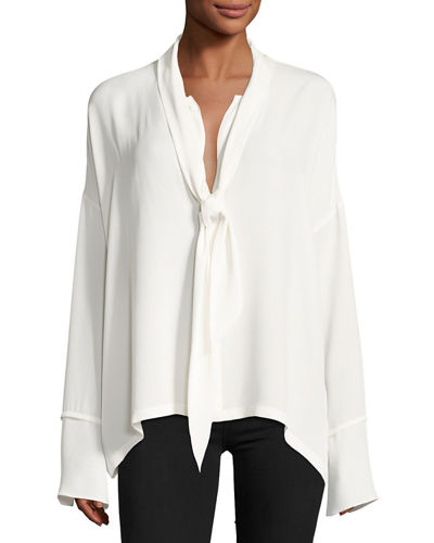 Classic Georgette Scarf Shirt Blouse