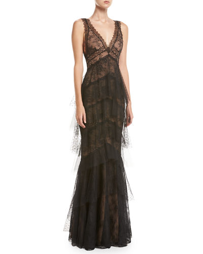 Marchesa Notte lace gown with tiered point-