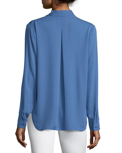 Hester Long-Sleeve V-Neck Silk Blouse