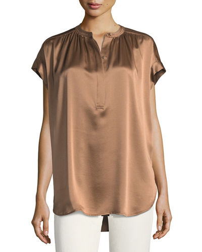 Short-Sleeve Shirred Satin Blouse