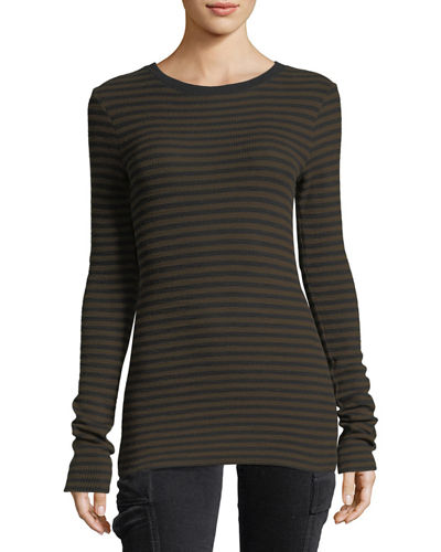 Railroad-Stripe Long-Sleeve Crewneck Tee