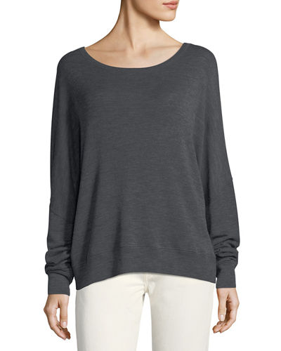 Drop-Shoulder Boat-Neck Wool Sweater