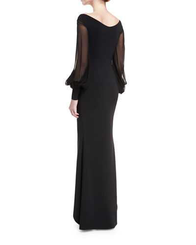 Rosellina Bishop-Sleeve Ruffled Evening Gown