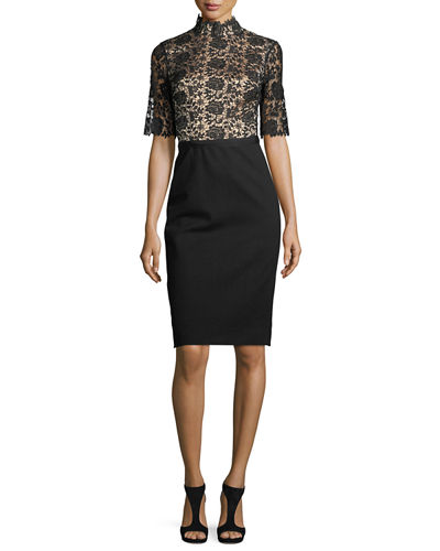 Half-Sleeve Lace & Crepe Cocktail Dress